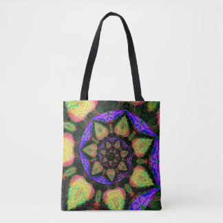 Neon abstract spiral tote bag