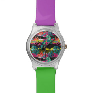 Neon Abstract Tropical Texture Pattern Watch