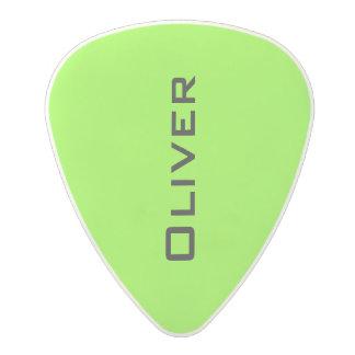neon acid green guitar pick with guitarist name