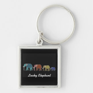 Neon African Elephant Walk Silver-Colored Square Key Ring