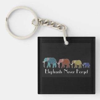 Neon African Elephants Keychain
