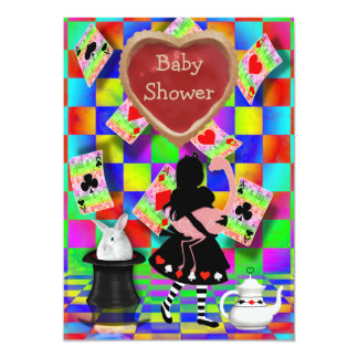 Neon Alice & Flamingo Jam Tart Heart Baby Shower Card