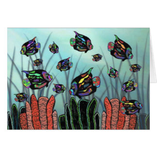 Neon Angelfish Coral Reef Card