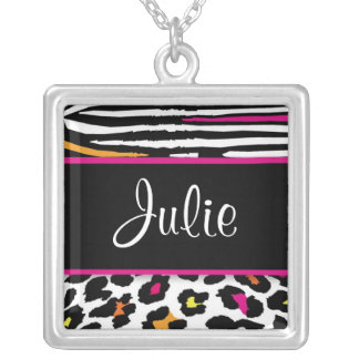 Neon Animal Print Name or Monogram Necklace