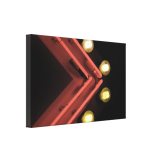 Neon Arrow and Lights Gallery Wrapped Canvas