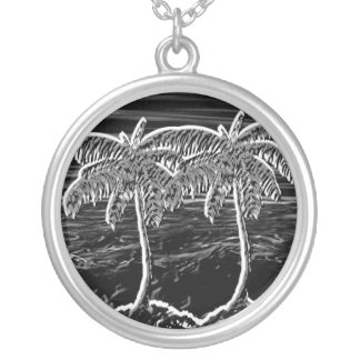 neon black round palm trees silver plated necklace