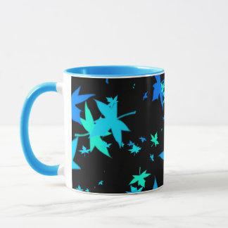 Neon Blue and Green Leaves Coffee Mug