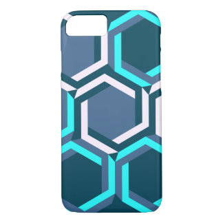 Neon blue and purple beehive over deep blue iPhone 7 case