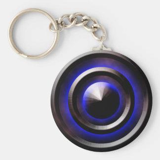 Neon-Blue Basic Round Button Key Ring