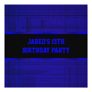 Neon Blue Black Stripe Boys 15th Birthday Party Card