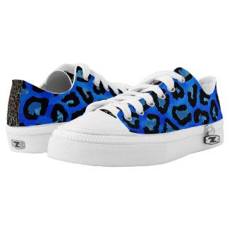 Neon Blue Cheetah Vector Printed Shoes