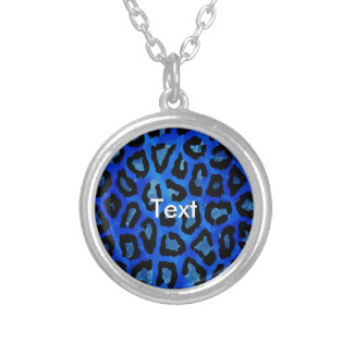 Neon Blue Cheetah Vector Round Pendant Necklace
