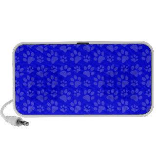 Neon blue dog paw print pattern laptop speakers