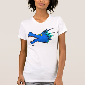 Neon blue dragon art head ladies tee