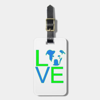 Neon Blue & Green Pit Bull Love Luggage Tag