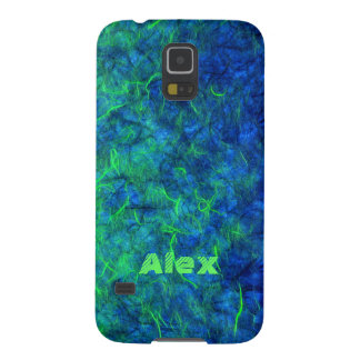 Neon blue green psychedelic Japanese rice paper Galaxy S5 Covers