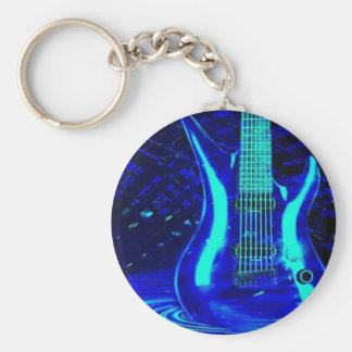 Neon blue guitar basic round button key ring