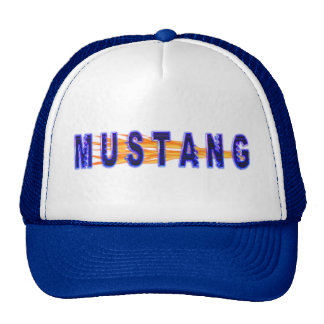 Neon Blue Mustang And Flames Cap