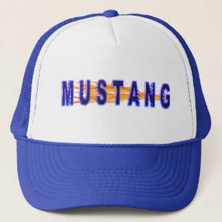 Neon Blue Mustang And Flames Trucker Hat