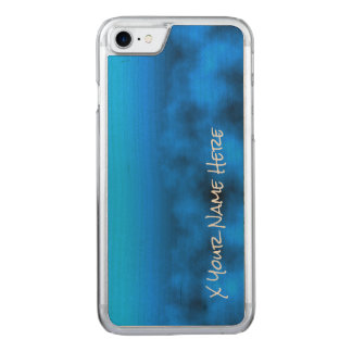 Neon Blue Night Sky With Black Insert Name Carved iPhone 7 Case
