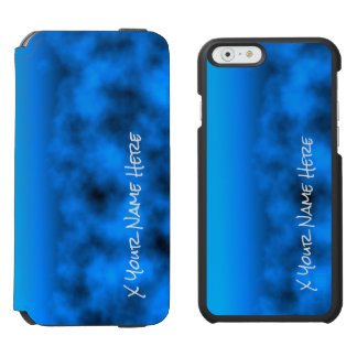 Neon Blue Night Sky With Black Insert Name Incipio Watson™ iPhone 6 Wallet Case