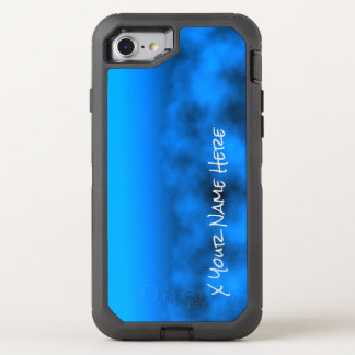 Neon Blue Night Sky With Black Insert Name OtterBox Defender iPhone 8/7 Case