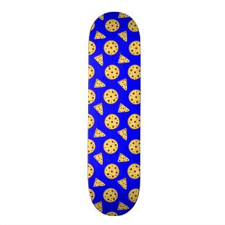 Neon blue pizza pattern skateboard decks