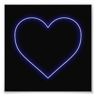 Neon Blue Valentines Heart Photograph