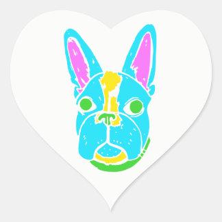 Neon Boston Terrier Heart Sticker