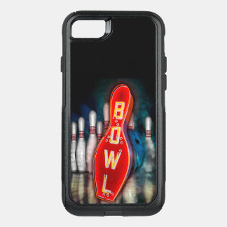 Neon Bowling Sign with ball and pins. OtterBox Commuter iPhone 8/7 Case