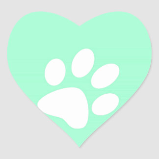 neon bright blue green teal paw print heart sticker