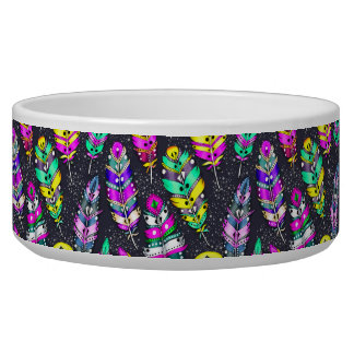 Neon bright colorful tribal feathers pattern dark