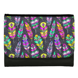 Neon bright colorful tribal feathers pattern dark wallets