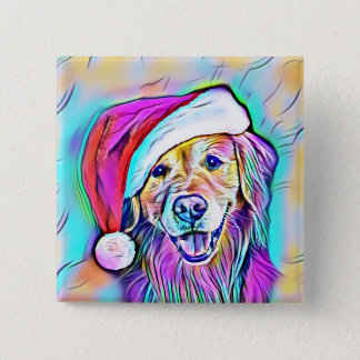 Neon Bright Colors Christmas Golden Retriever Art 15 Cm Square Badge