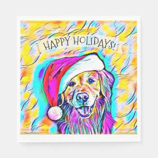 Neon Bright Colors Christmas Golden Retriever Art Paper Napkins