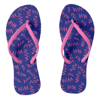 Neon Bright Zig Zag - Flip Flops Thongs