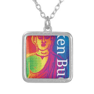 Neon broken buddha silver plated necklace