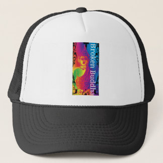 Neon broken buddha trucker hat