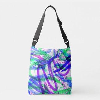 Neon Brushstroke Paint Splatter Mint Green Magenta Crossbody Bag