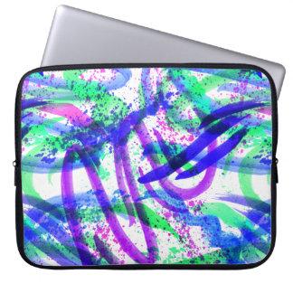 Neon Brushstroke Paint Splatter Mint Green Magenta Laptop Sleeve