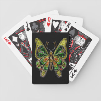 Neon Butterfly Bicycle Playing Cards