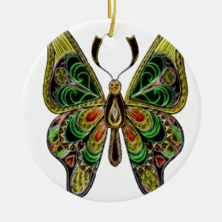Neon Butterfly Ceramic Ornament