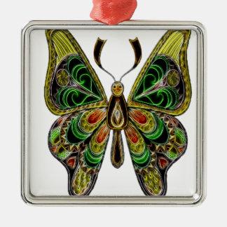 Neon Butterfly Metal Ornament