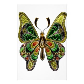 Neon Butterfly Stationery
