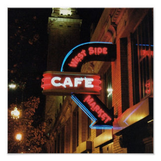 Neon Cafe Sign (Cleveland, Ohio) Poster 12x12