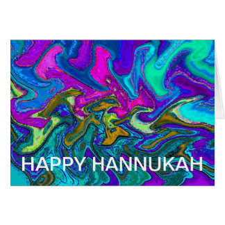 Neon Candle Lights of Hannukah Card