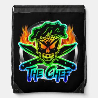 Neon Chef Skull Backpacks
