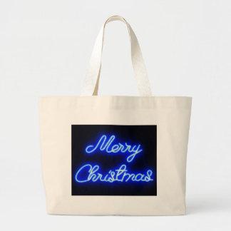 Neon Christmas Large Tote Bag