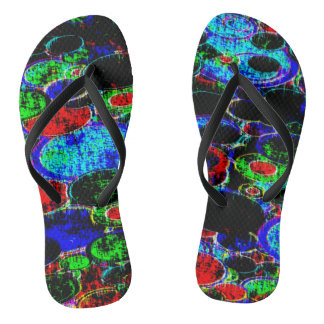 neon circle abstract thongs