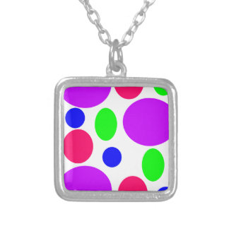 Neon Circles Design Silver Plated Necklace